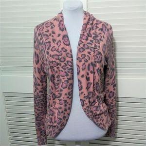 Boston Proper Pink Leopard Print Cardigan